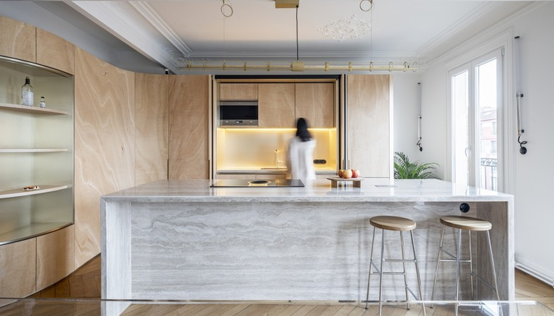 Toledano + architects Wood Ribbon interior design a Parigi