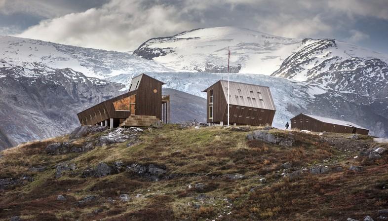 Snøhetta Tungestølen rifugio per escursionisti sul ghiacciaio Jostedalsbreen Norvegia