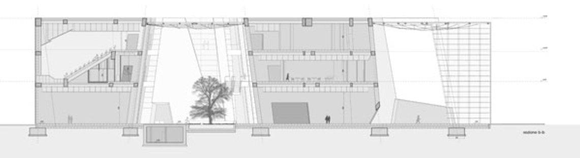 Sezione BB, evidenzia la corte centrale e quella d'ingresso vetrate