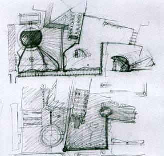Architettura contemporaneadi giorno e antichi manieri di notte nel Parmense