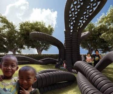 Pneumatici riciclati danno vita a parco giochi per bambini rifugiati