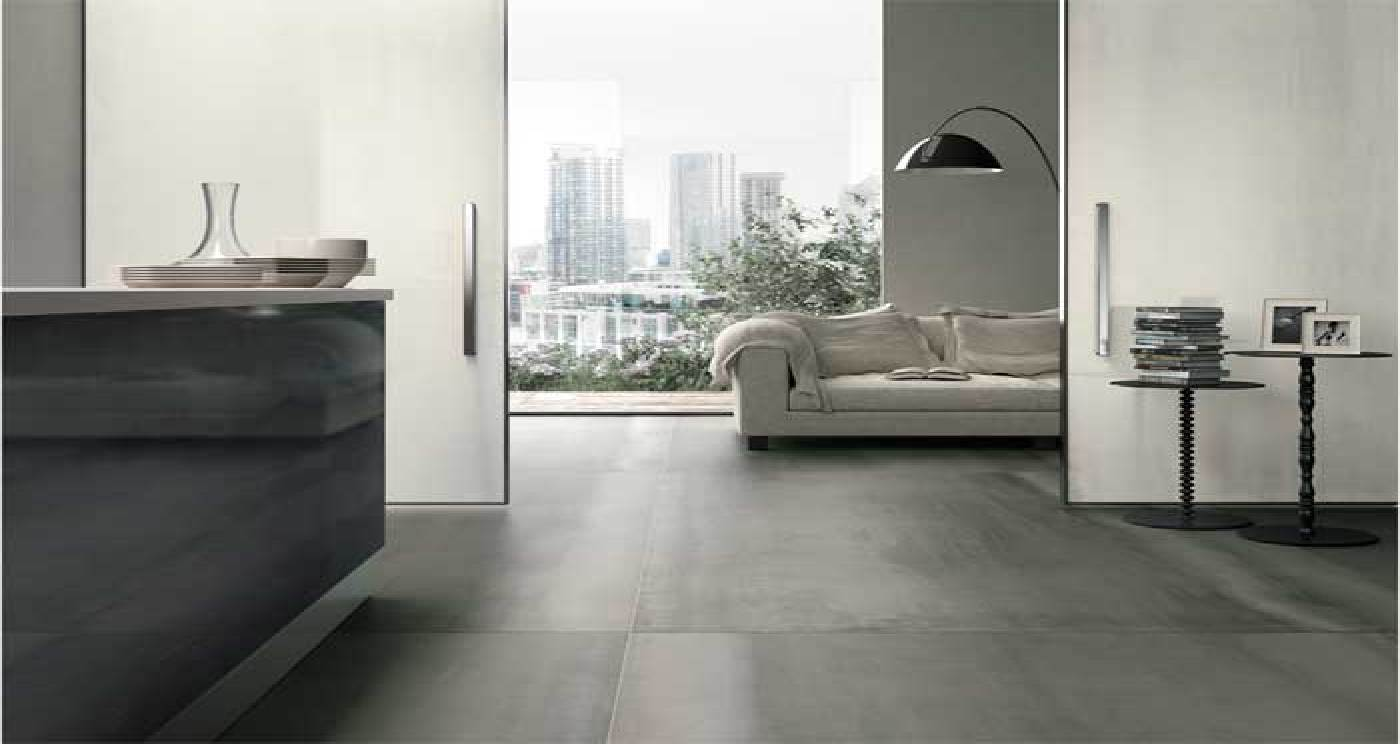 Piastrelle grandi formati effetto metallo pavimenti interni - Ultime tendenze pavimenti interni ...