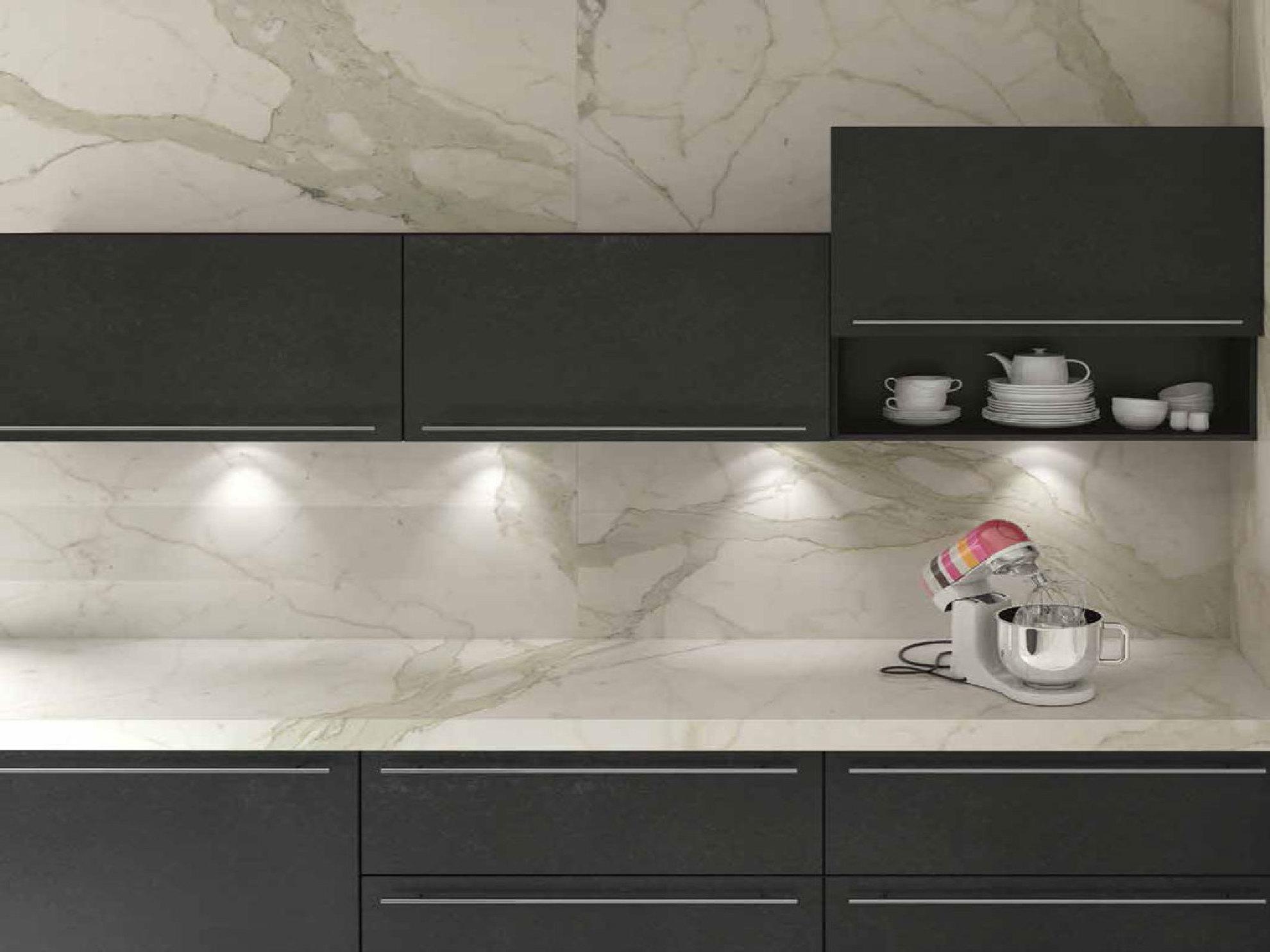 Piastrelle cucina effetto marmo piastrellare la cucina con il gres porcellanato casa - Cucina con piastrelle ...