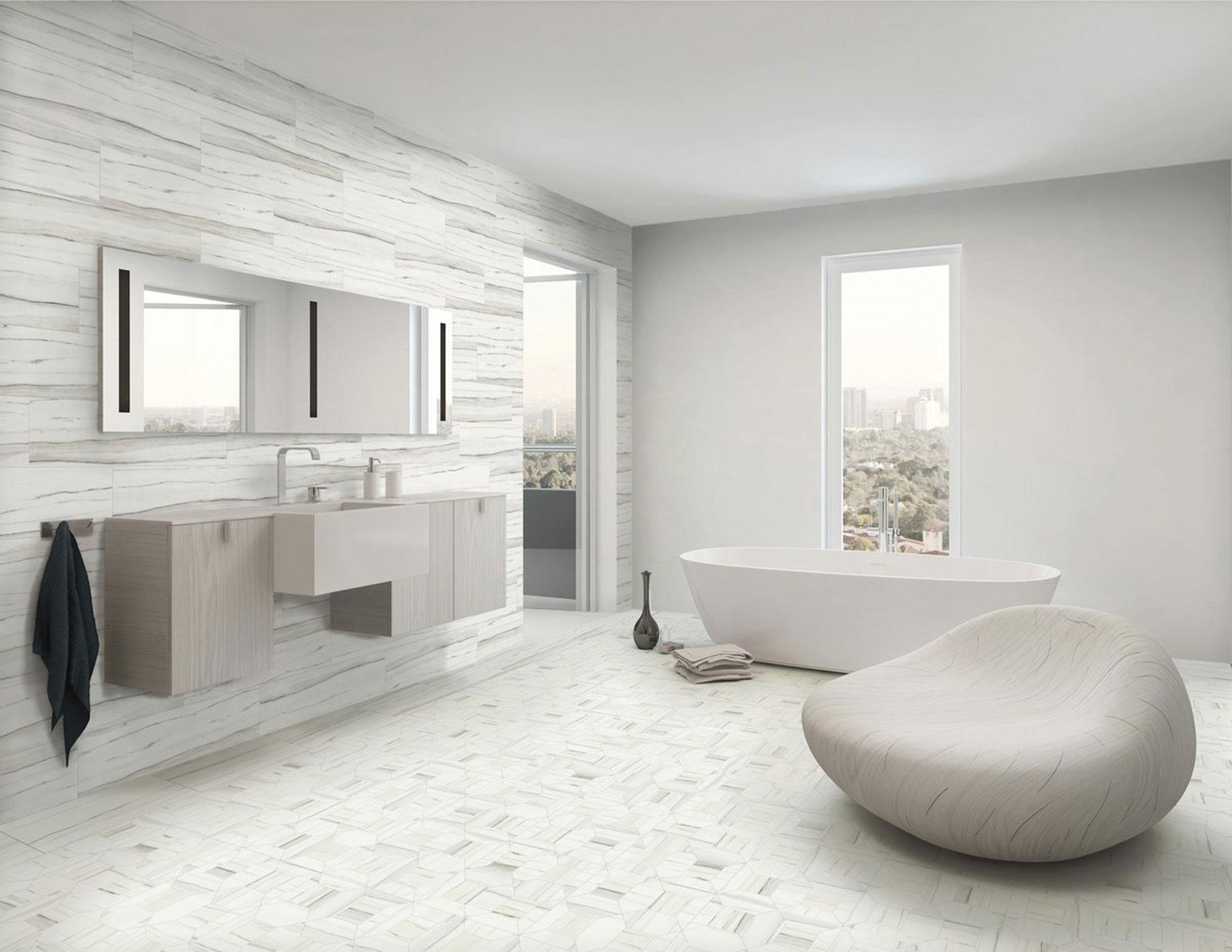 Il bagno contemporaneo con superfici in gres porcellanato Stonepeak ...