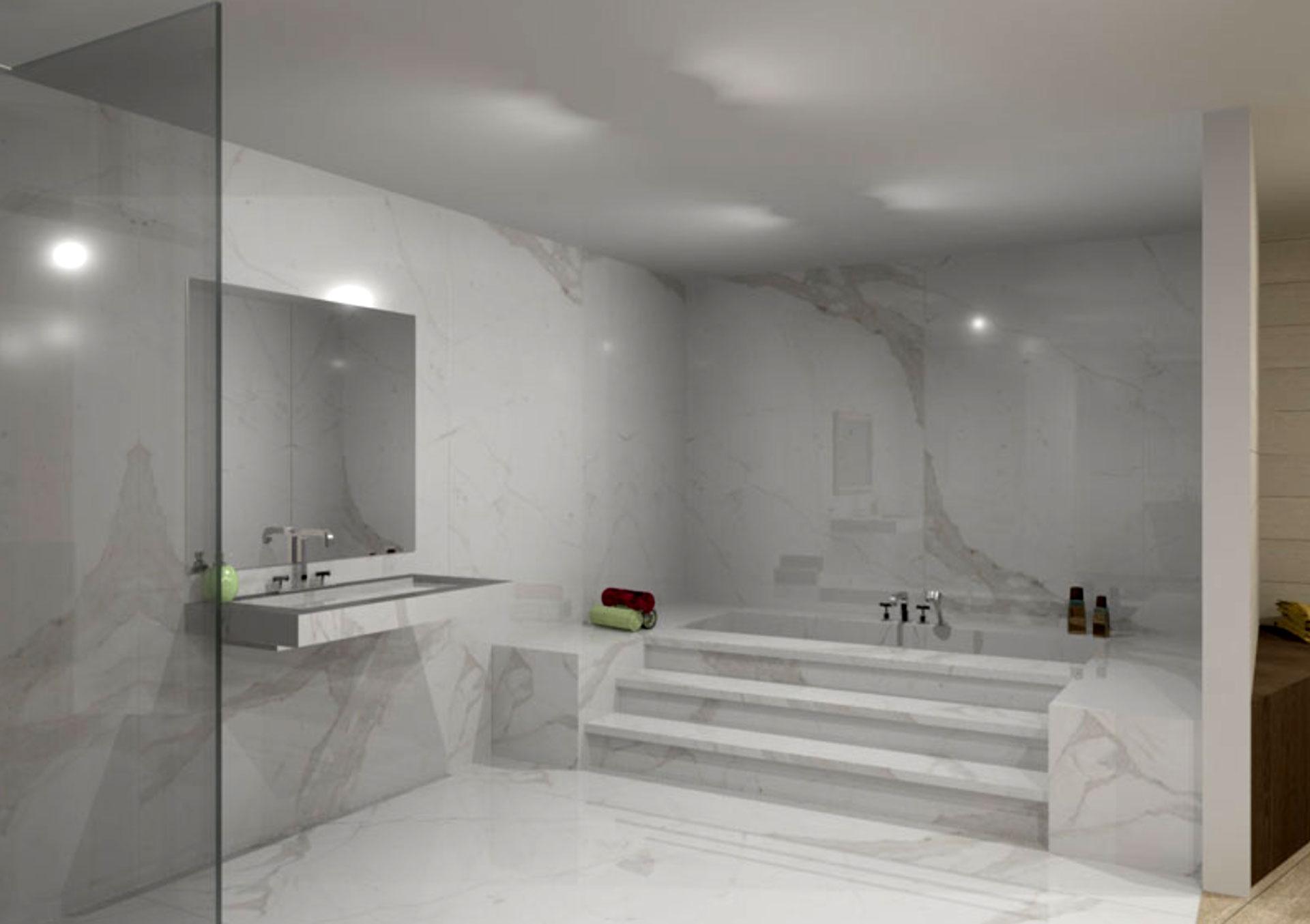 Il bagno contemporaneo con superfici in gres porcellanato