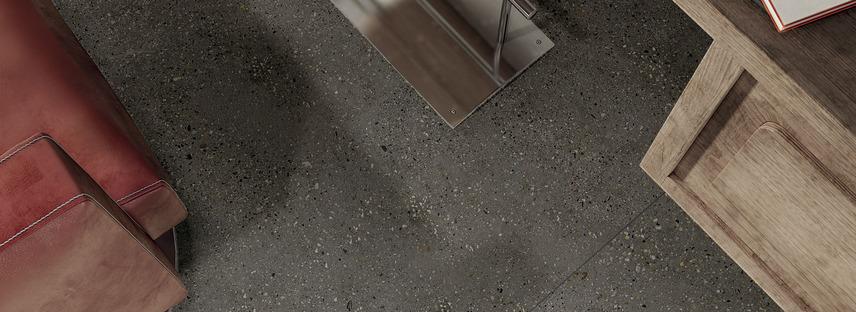 Armonia e naturalezza: grandi lastre Maxfine effetto cemento Walk On e Cluster