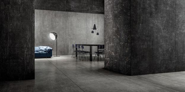 Grandi lastre ispirate a cementi, resine e metalli: Hi Lite di Iris Ceramica