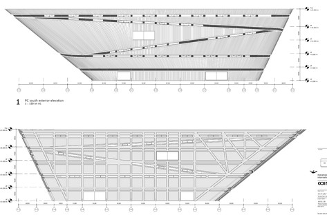 Longgang di Mecanoo, facciata a sbalzo di cemento e alluminio