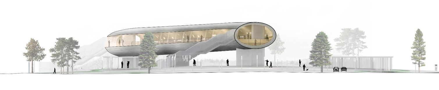 La KØGE Nord station è un tunnel di acciaio, rivestito di alluminio e legno