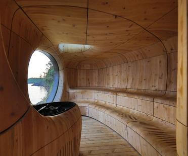Grotto sauna di Partisans in legno preinvecchiato