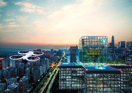 I vertiport della città del futuro di MVRDV
