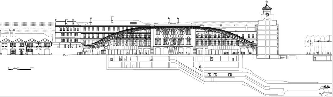 La King's cross station di McAslan in acciaio e pannelli di vetro